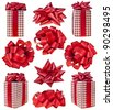 collection set of gift box in red checkered with red bow isolated on white background - stock photo