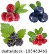 collection set of heap forest berries ( raspberries, blueberries, blackberries, cranberries ) closeup macro isolated on a white background - stock photo