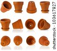 Collection set of terracotta clay flowerpots isolated on white background - stock photo