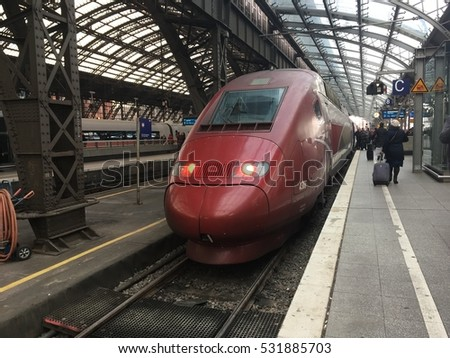 Cologne, Germany- december 8 2016: french Thalys train direction Paris at the main station in Cologne.