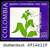 COLOMBIA - CIRCA 1992: A stamp dedicated to quincentenary Miguel Antonio Caro Tobar, a Colombian scholar, poet, journalist, philosopher, orator, philologist, lawyer and politician, circa 1992 - stock photo