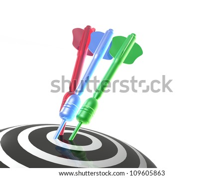 Color arrows on the target, white background.
