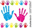 color children and parents hand print means different symbols - stock photo