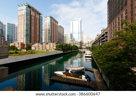 Color DSLR stock image of Chicago city skyline up the Chicago River. Residential district; horizontal with copy space for text