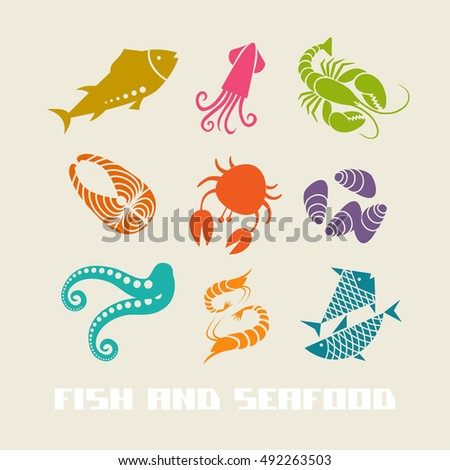 Vector illustration funny sea animals icons stock vector for White river fish market menu