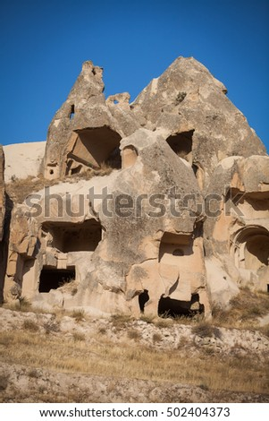 Color image of some caves in Cappadocia, Turkey.