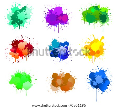 Color ink blots isolated on white for design. Vector version also available in gallery in gallery