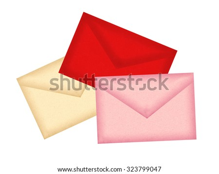 Color letters envelopes isolated on white background