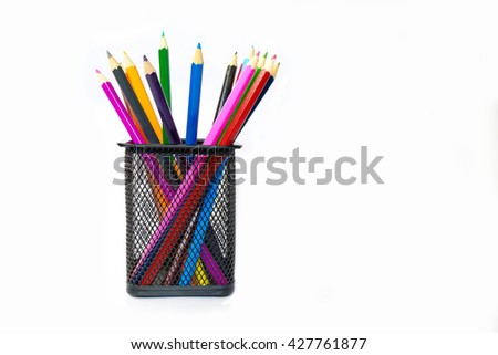 Color pencil n box on white background