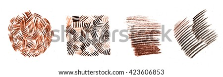 Color pencil  stroke abstract hand drawn bright colorful brown background pattern