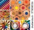 color pencils, collage - stock photo
