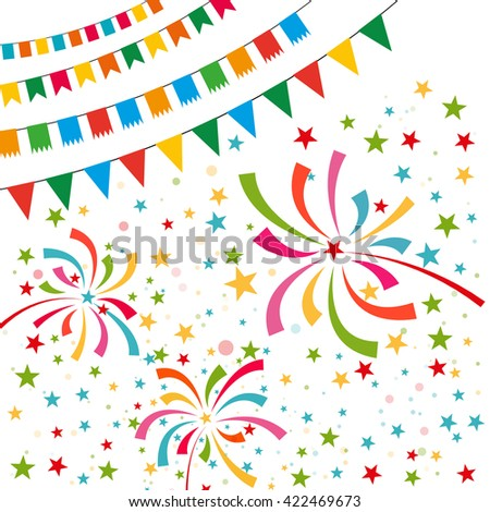 Color pennant bunting collection triangular and square red, yellow, blue, green, orange colors on white background with color firework around, iilustration. for web design. greeting card, party