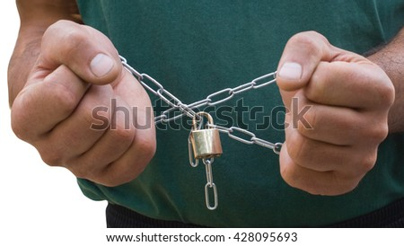 Color photo of male hands and a metal chain with a lock