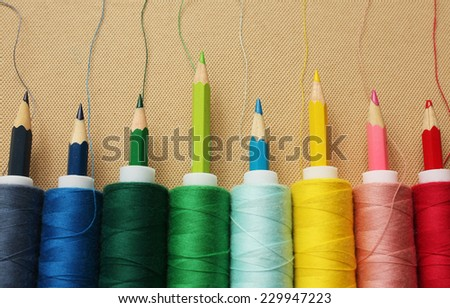 Color threads with pencils
