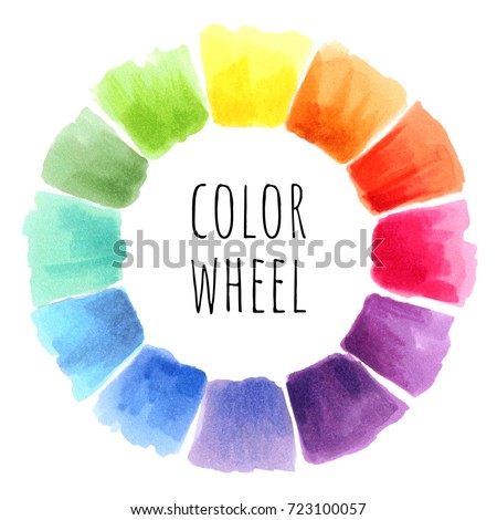 Color Wheel Isolated Watercolor Spectrum Illustration