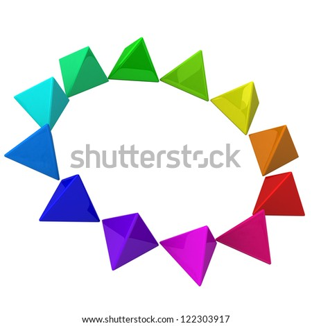 Color wheel made of pyramids, 3d