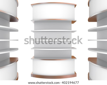 Color white curve shelves design on white background, 3D rendering