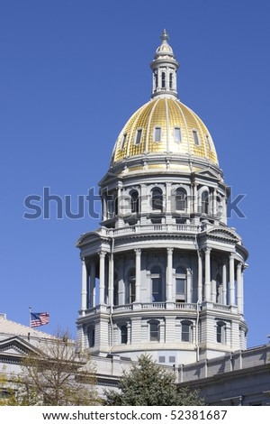 Colorado Capitol Dome Detail. Focus on gold dome.