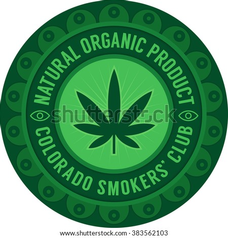 Colorado smokers' club emblem green on white. Natural organic product symbol.