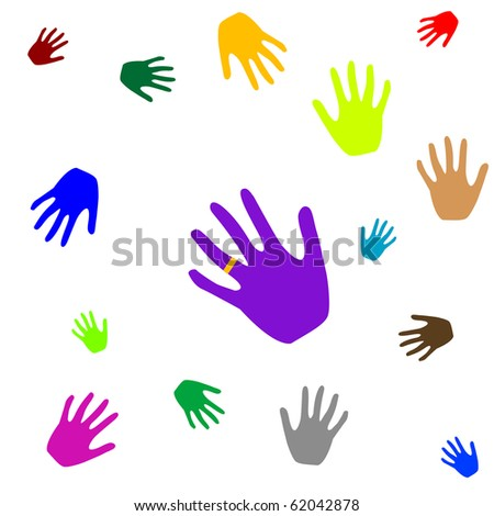 colored hands isolated on white background, abstract art illustration; for vector format please visit my gallery