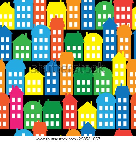 colored houses seamless pattern