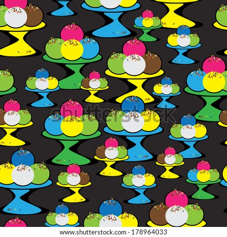 colored ice cream seamless pattern