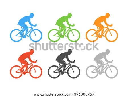 Colored logo cycling on a white background. Cyclist figure on a white background.