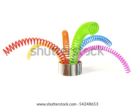 colored metal springs on white background isolated