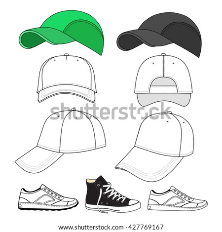 Colored outlined sneakers & baseball cap set