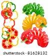 Colored paprika sliced like slinky toy on white background - stock photo