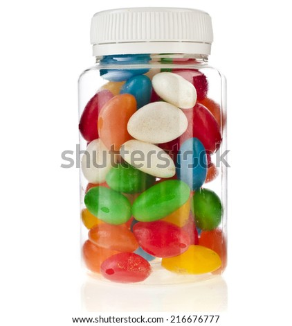 Colored Pills in the plastic bottle  isolation on a white background