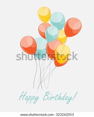 Colored Retro Balloons Background Illustration