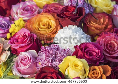 Colored rose bouquet