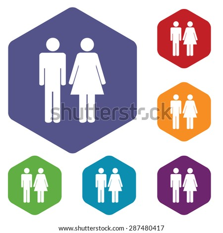 Colored set of hexagon icons with image of man and woman, isolated on white