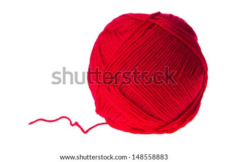 colored yarn thread isolated on white background
