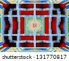 Colorful abstract design of the ceiling of a Tibetan buddhist temple.  - stock photo