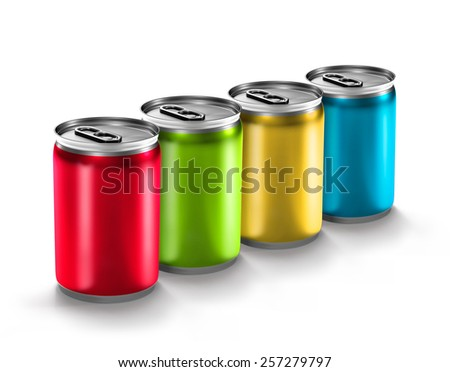 colorful aluminum can isolated on white background