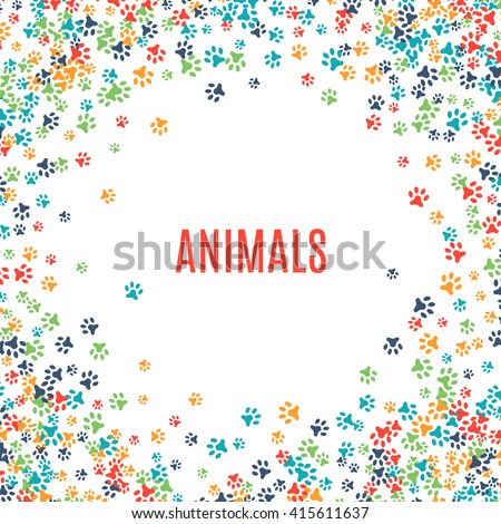 Colorful dog paw prints background isolated stock vector 380228926 shutterstock - Paw print wall border ...