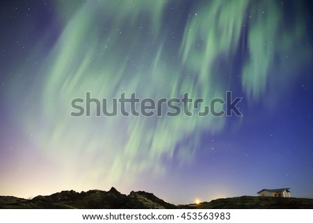 Colorful aurora borealis northern lights in a clear night sky