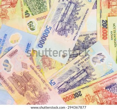 Colorful background and texture of Vietnam currency,money