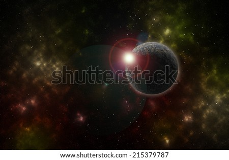 Colorful background of a deep space star field and planet
