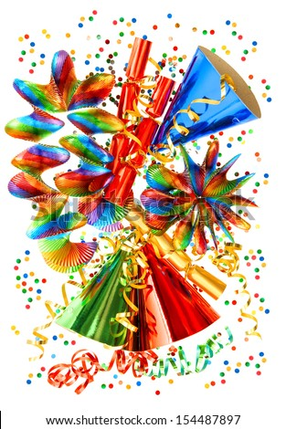 colorful background with garlands, streamer, cracker, party hats and confetti. festive carnival, new year or birthday decoration