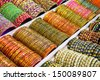 Colorful bangles - jewelery bracelets at the market in India - stock photo