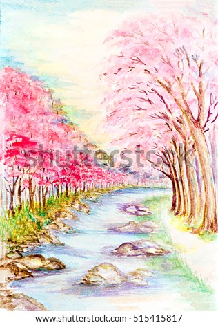 colorful beautiful bright watercolor painting landscape with a sakura blossom sakura tree and old bridge riverside in Japanese style with space for text,