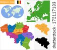 Colorful Belgium map with provinces and main cities - stock vector
