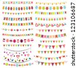 Colorful bunting and garlands. Raster version - stock photo