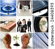 colorful business collage made from nine photographs - stock photo