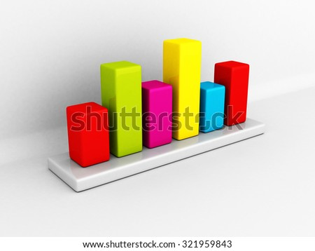 Colorful Business Info Graph Bar Chart. 3d Render Illustration
