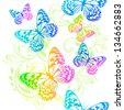 Colorful butterflies flying. Raster - stock photo