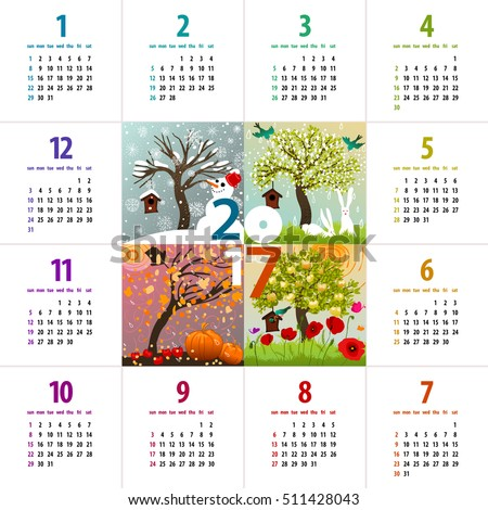 colorful 2017 calendar - week starts with sunday - with four seasons illustration featuring a tree, birdhouse, birds, bunnies, pumpkins and snowman